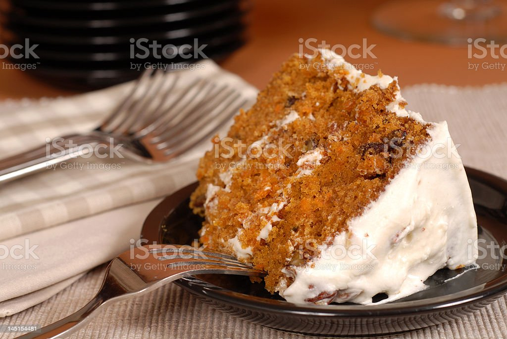 Carrot cake with fork stock photo