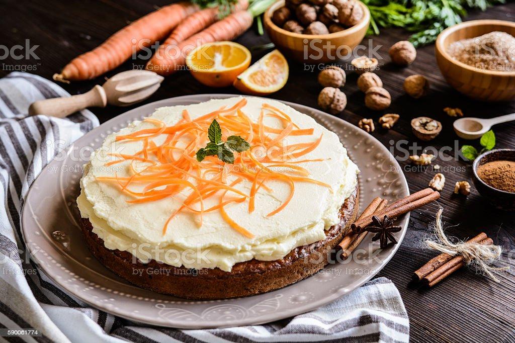 Carrot cake with mascarpone stock photo