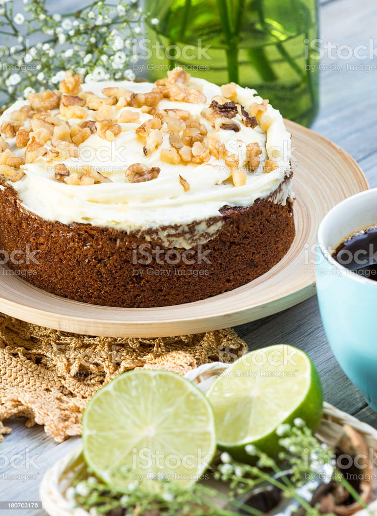 carrot cake with walnuts royalty-free stock photo