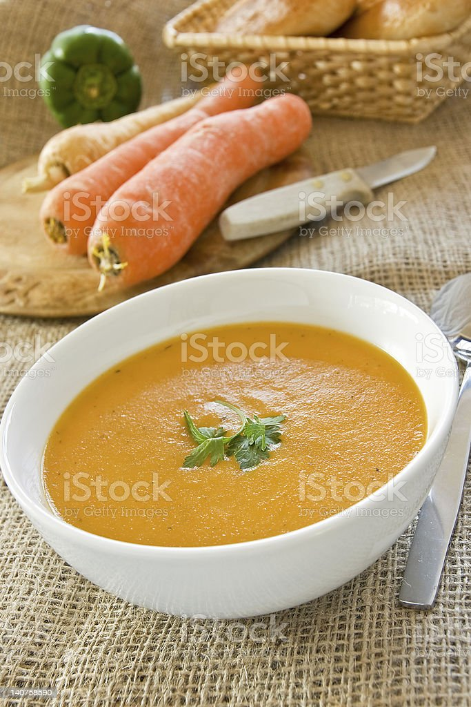 Carrot & Coriander Soup stock photo