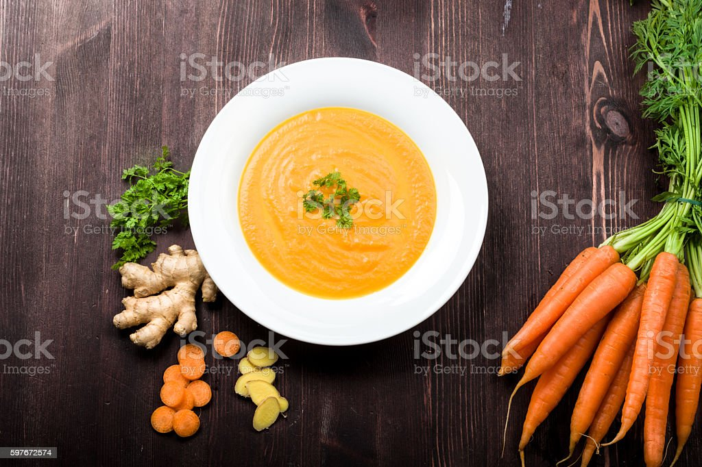 Carrot ginger soup stock photo