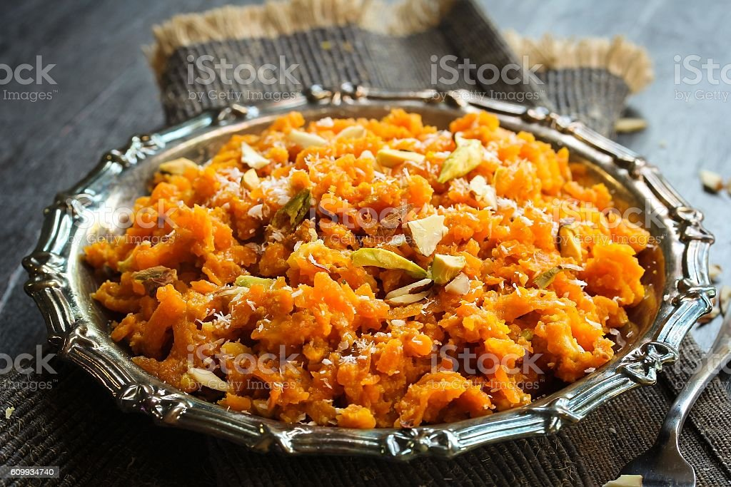 Carrot Halwa / Popular Indian sweet using carrots ghee and nus