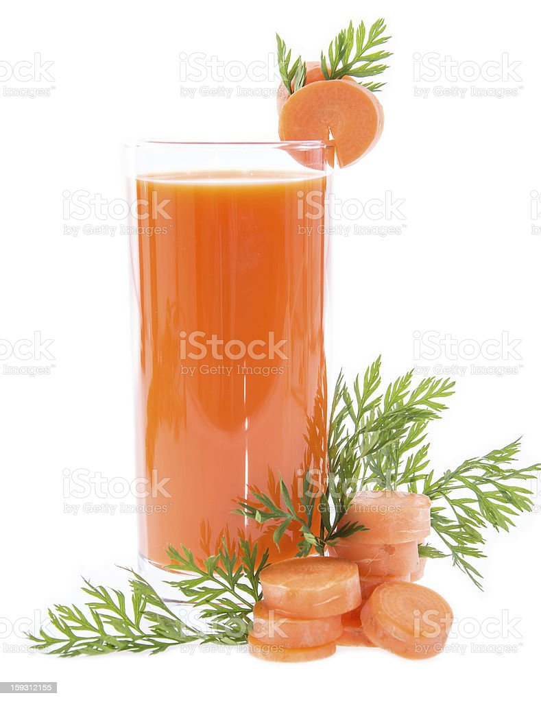 Carrot Juice isolated on white royalty-free stock photo
