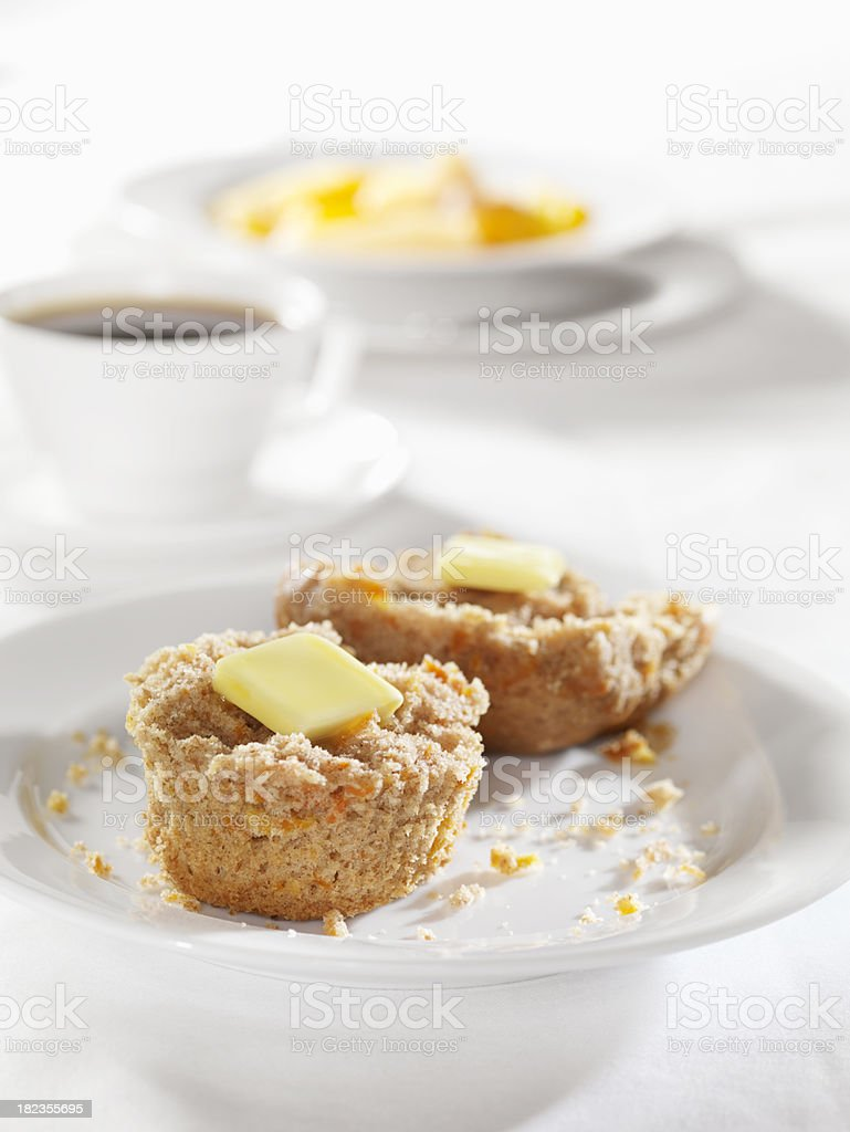 Carrot Muffin with Coffee and Fruit Salad royalty-free stock photo