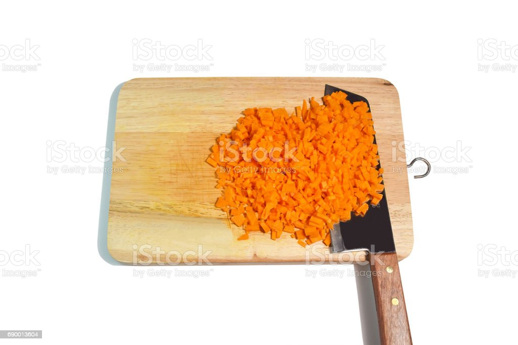 DSC_0029 Carrot on chopping board isolated stock photo