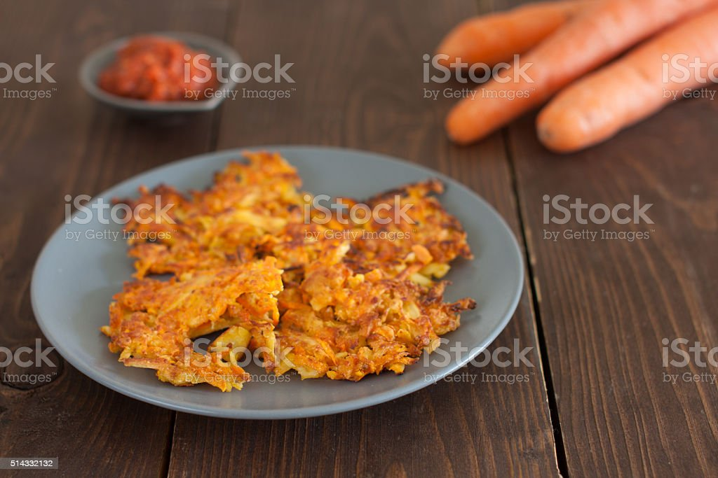 carrot pancakes stock photo