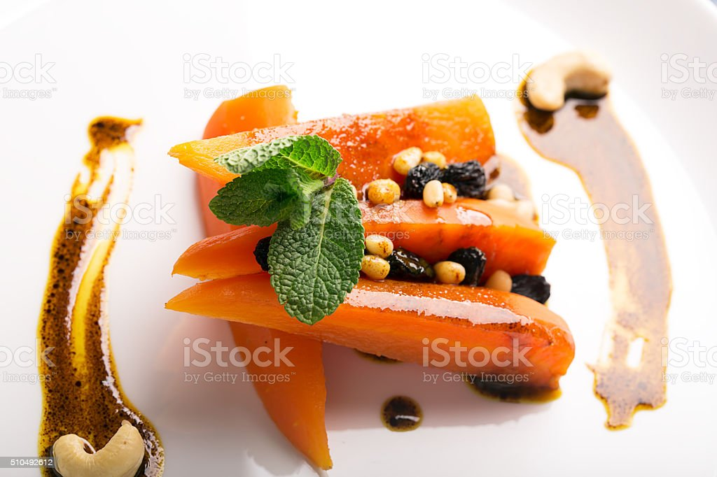 Carrot salad with raisins stock photo