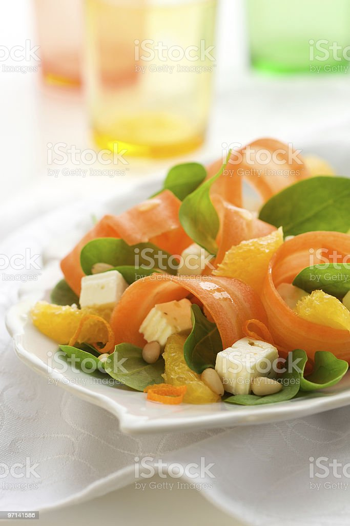 carrot salad with spinach royalty-free stock photo
