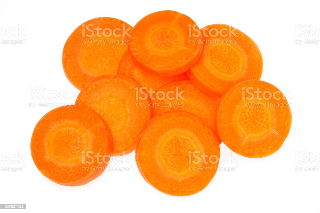 Carrot slices isolated on white background stock photo