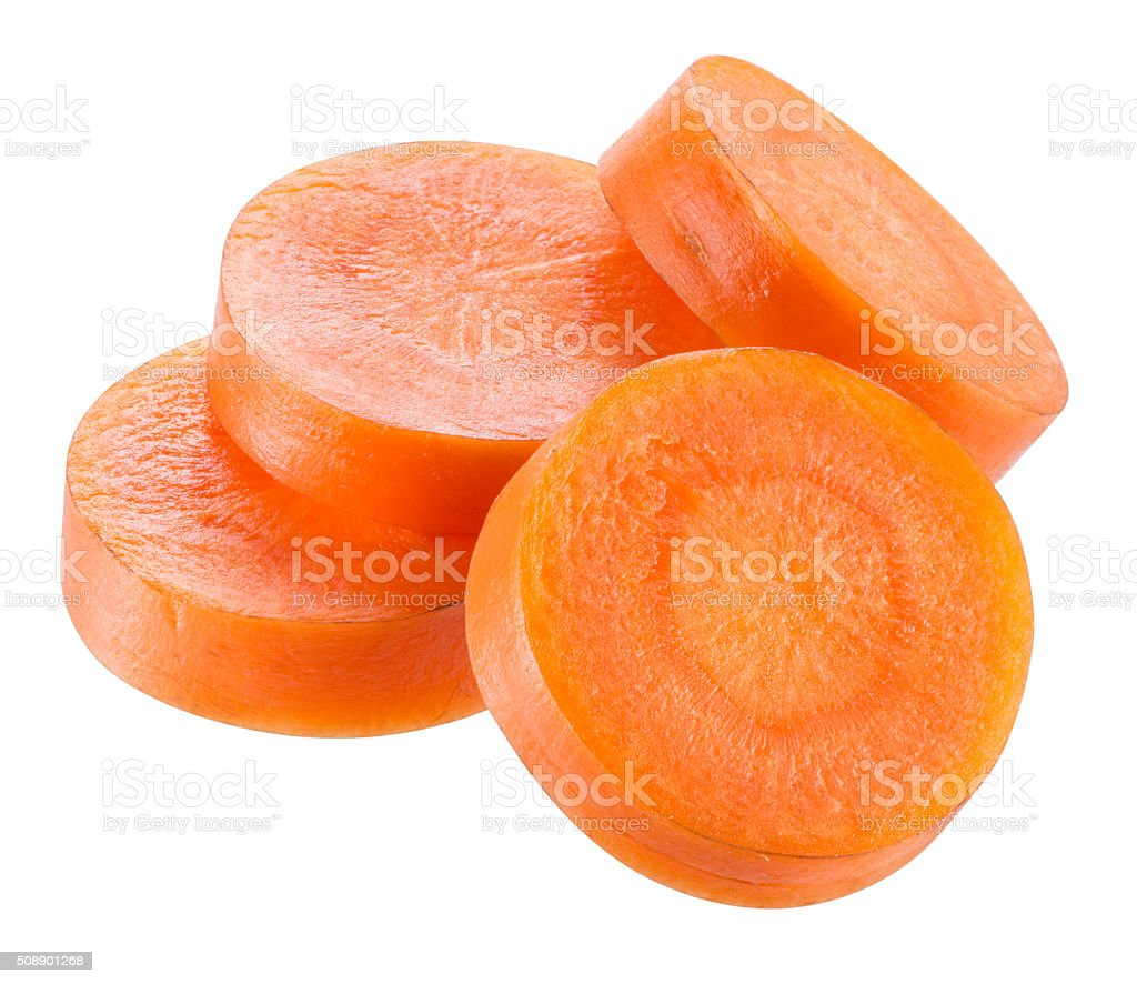 Carrot slices isolated on white. With clipping path. stock photo
