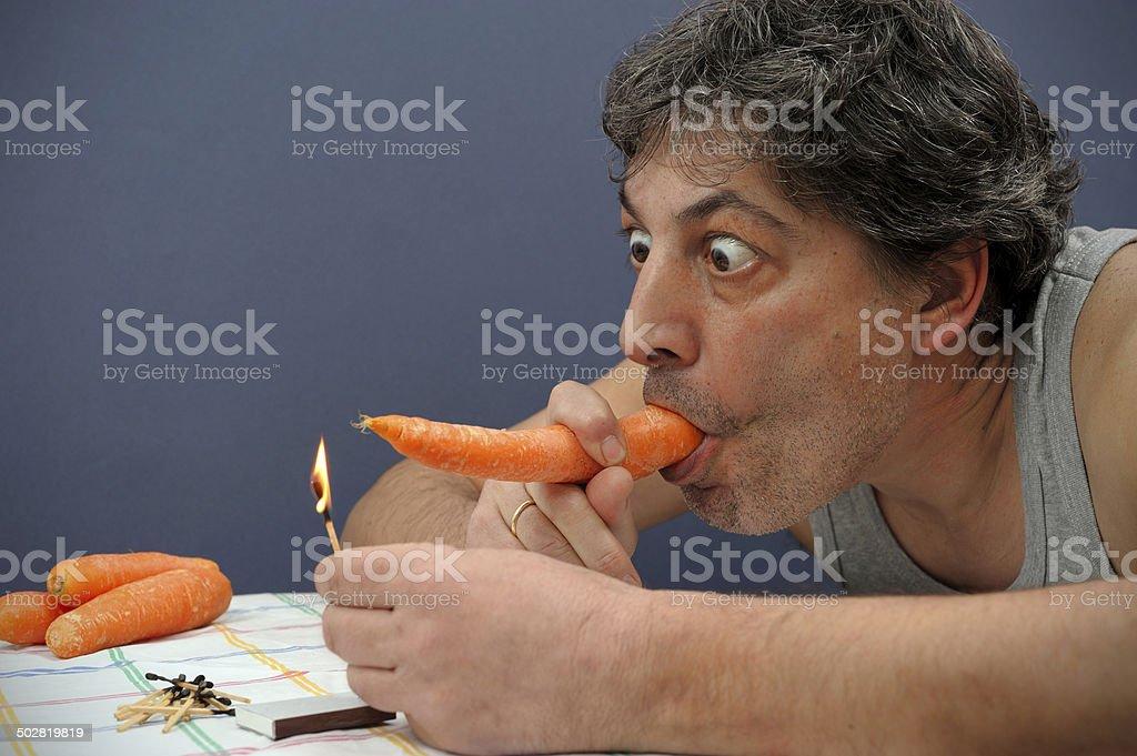 Carrot Smoking royalty-free stock photo