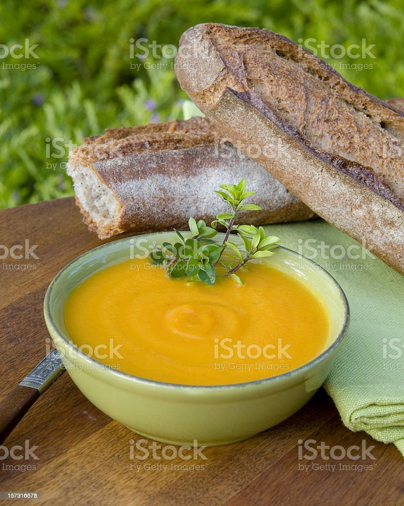 Carrot Soup Healthy Food, Vegetable & Vegetarian Picnic Meal royalty-free stock photo