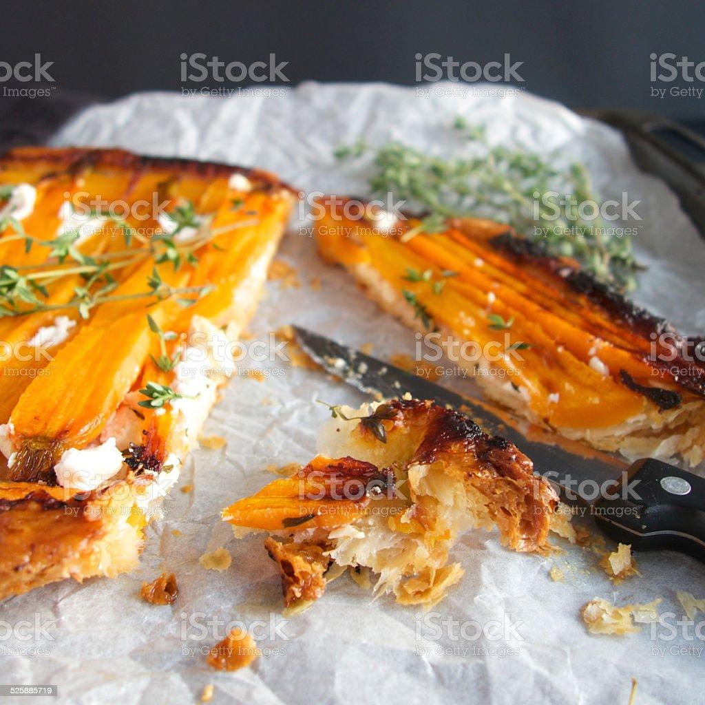 Carrot tarte tatin stock photo