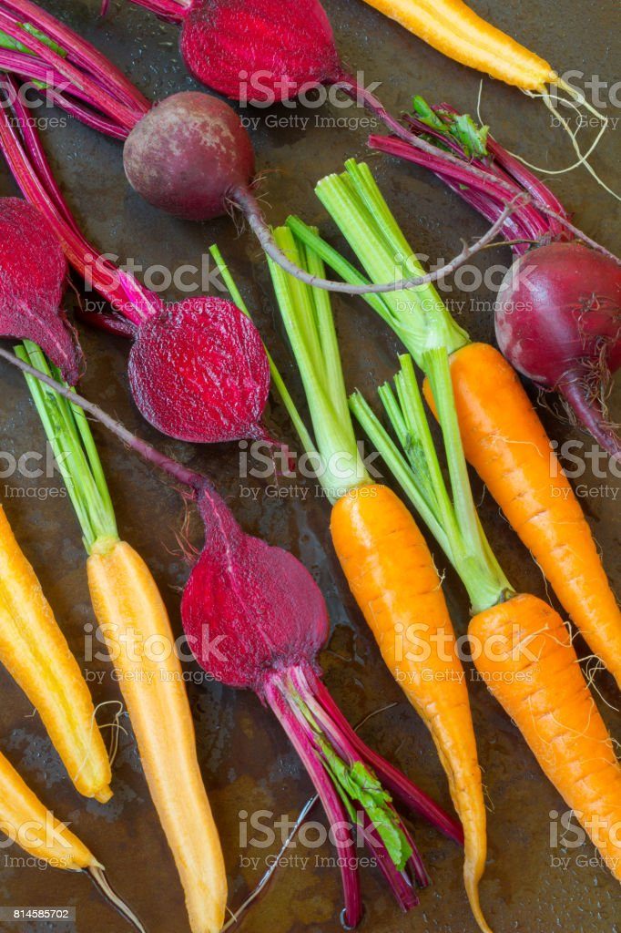 Carrots and beets are laid out in a row. Metal background with rust and drops of water stock photo