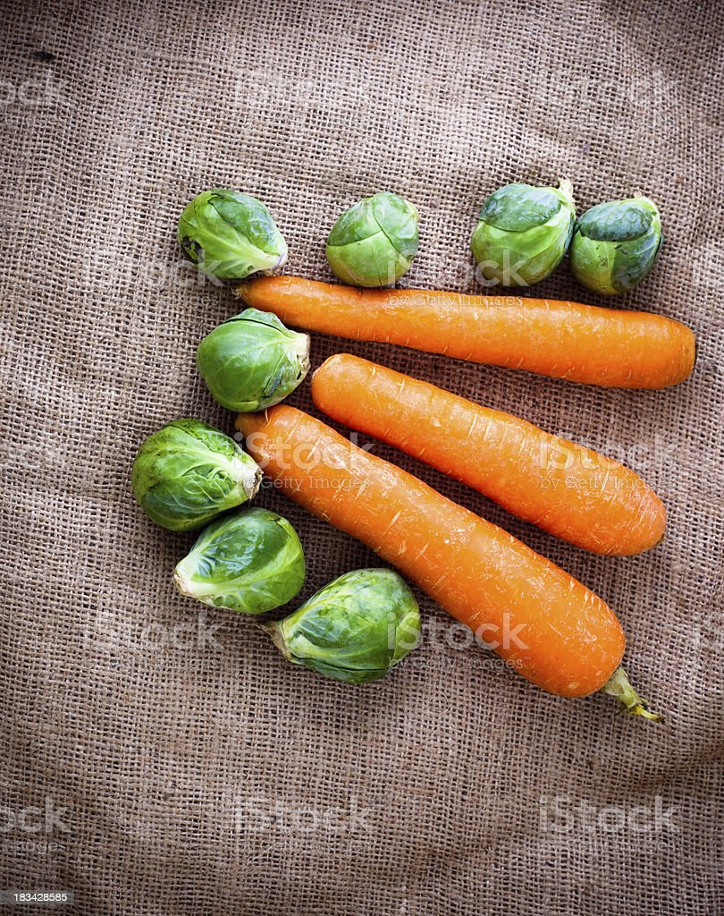 carrots and brussels sprouts stock photo