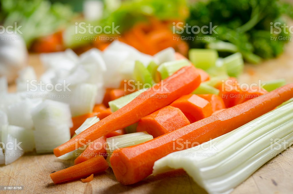 Carrots and Celery on the Chopping Block stock photo