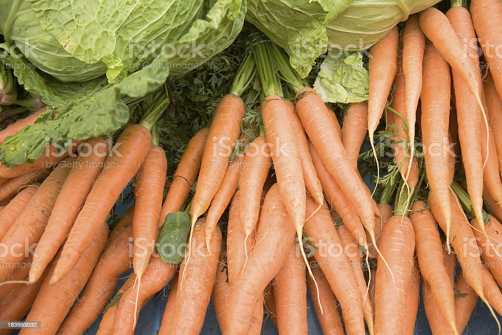 Carrots and lettuce royalty-free stock photo