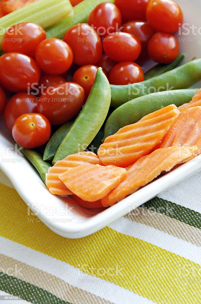 Carrots, Celery, Tomatoes and Sugar Snap Peas royalty-free stock photo