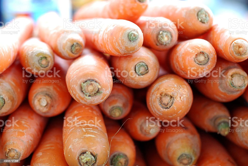 carrots for sale on a farmers market stock photo