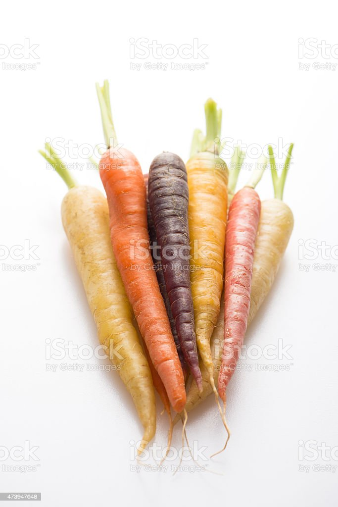 carrots in different colors stock photo