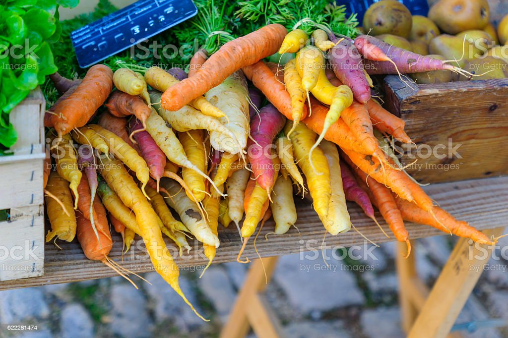 Carrots on sale in a French market stock photo