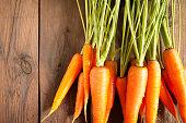 Carrots on wood