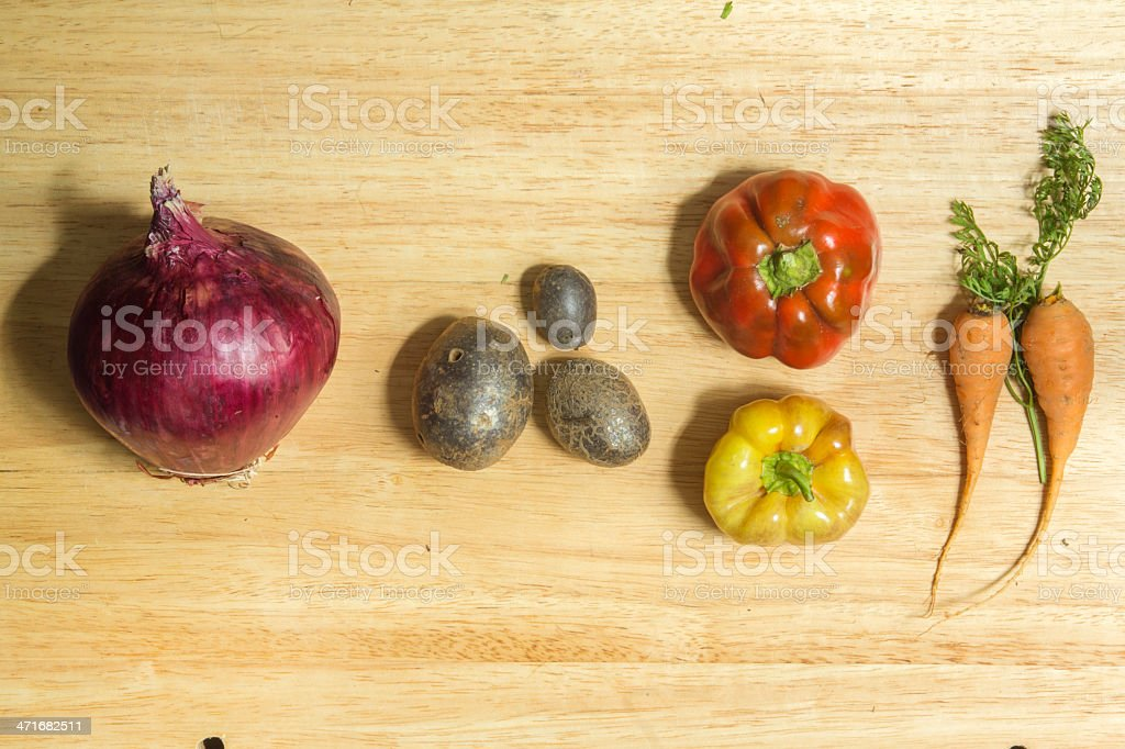 Carrots Potatos Peppers and Onion royalty-free stock photo