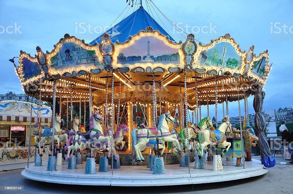 Carrousel at dusk stock photo