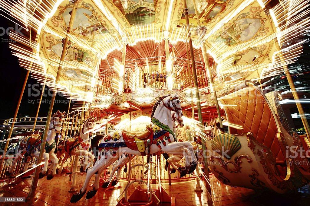 Carrousel at Night stock photo