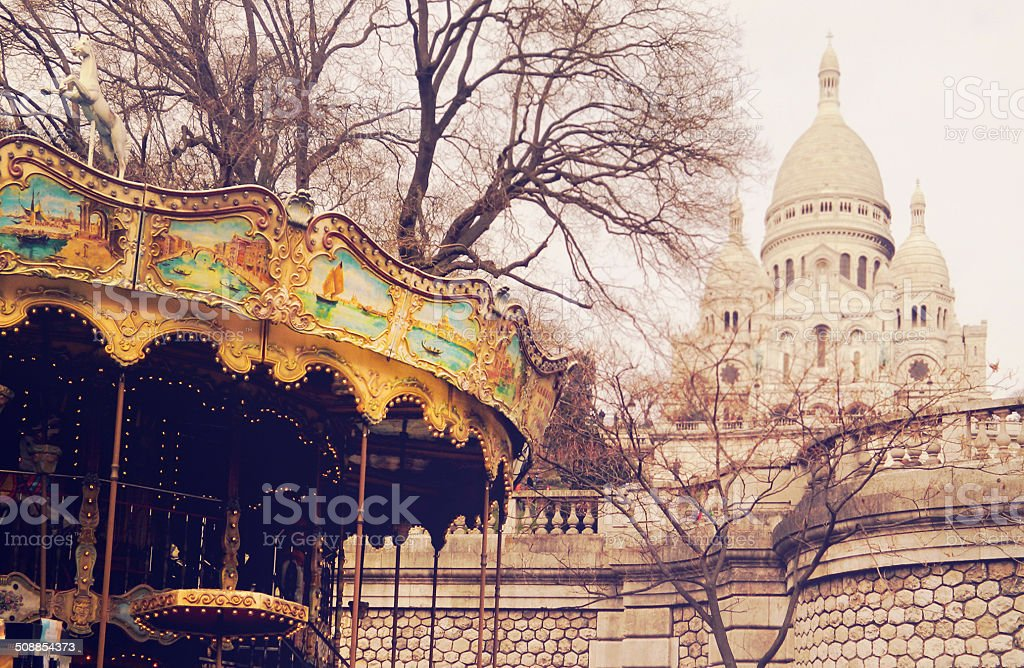 Carrousel with Lights and Sacre Coeur royalty-free stock photo