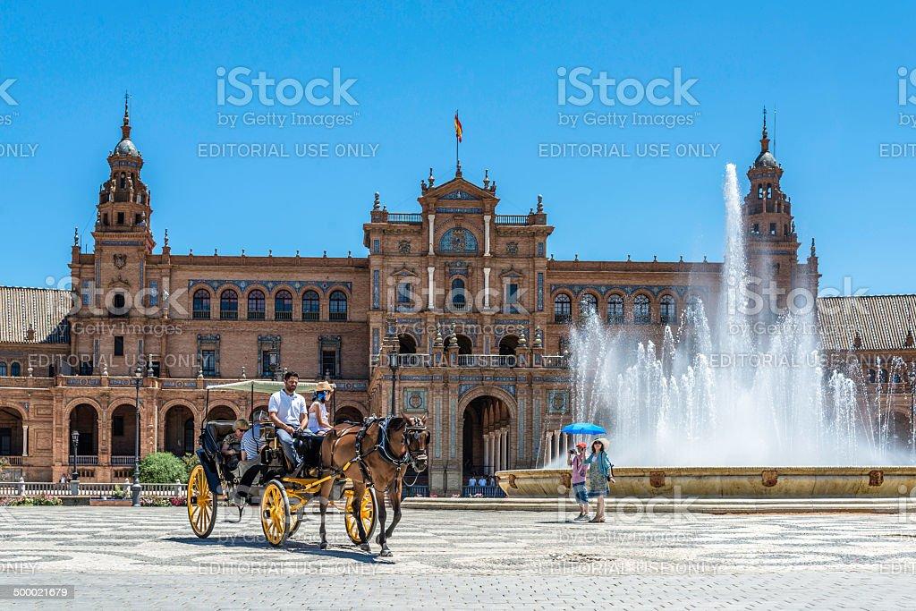 Carruaje en Plaza de España, Sevilla royalty-free stock photo