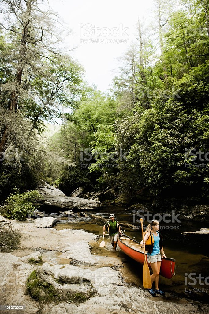 Carry Canoe on Rocky River royalty-free stock photo