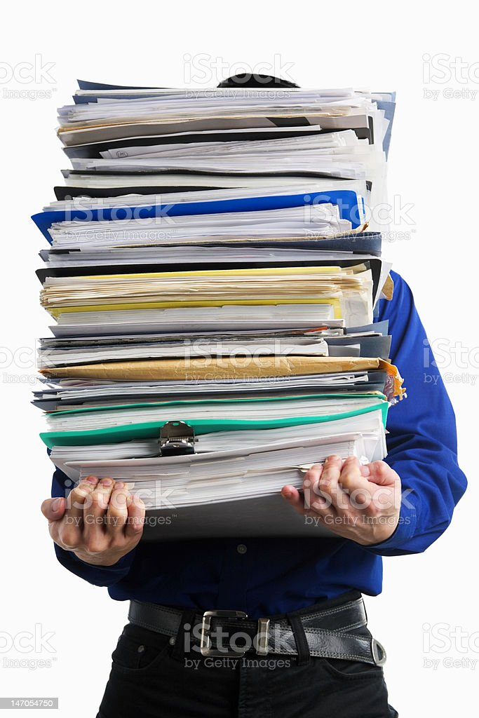 Carry pile of paperworks royalty-free stock photo