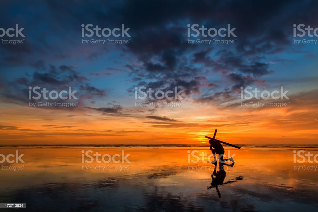 Carry Your Cross Sunset stock photo