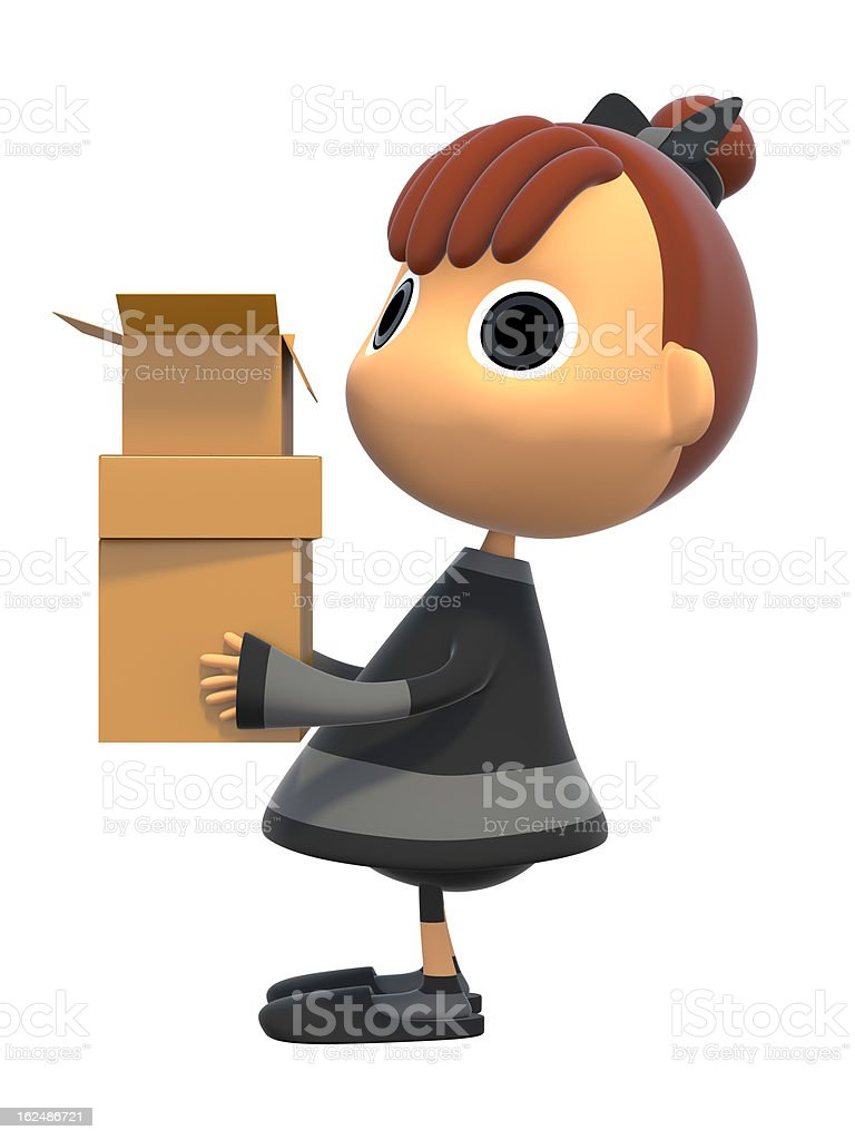 Carrying a cardboard box royalty-free stock photo