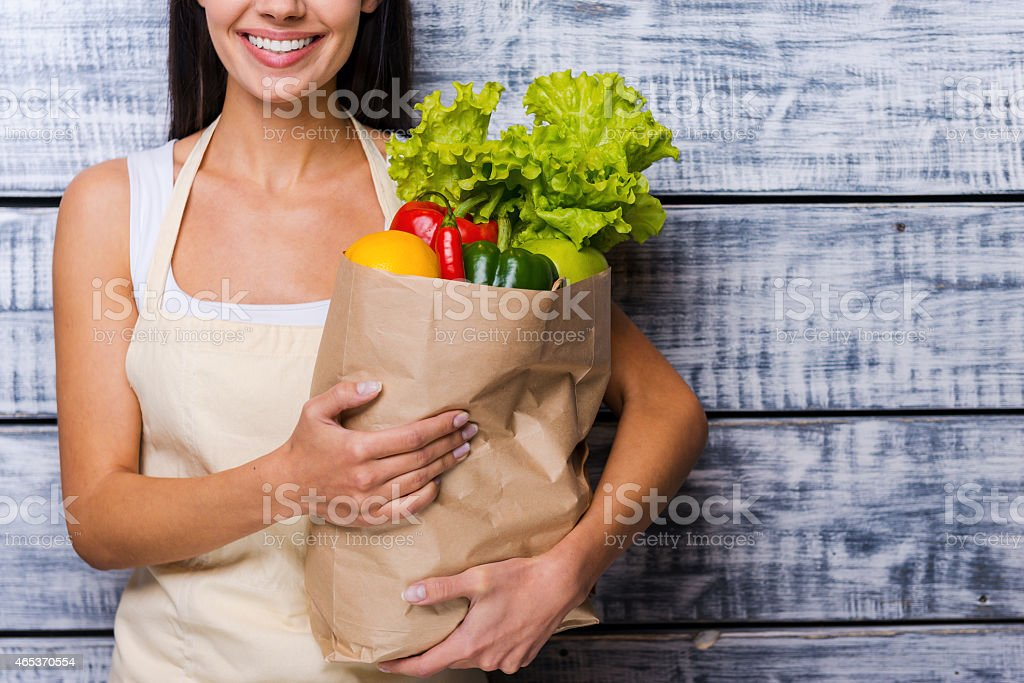 Carrying a healthy bag. stock photo