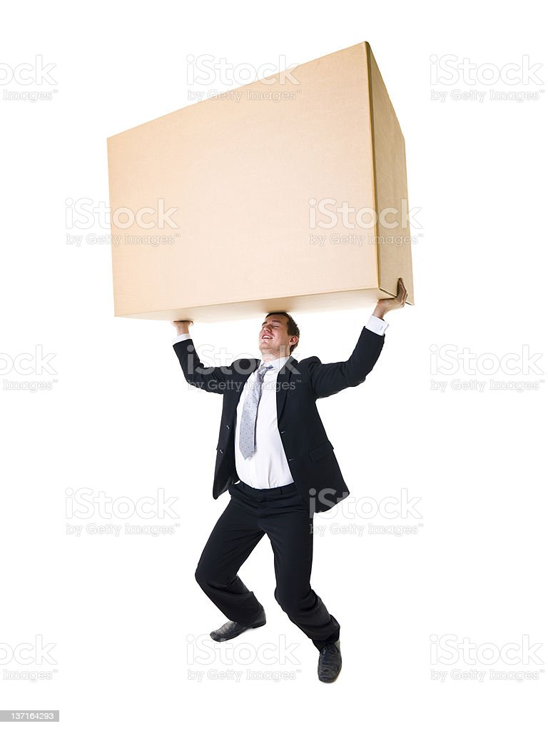 Carrying a heavy Box stock photo