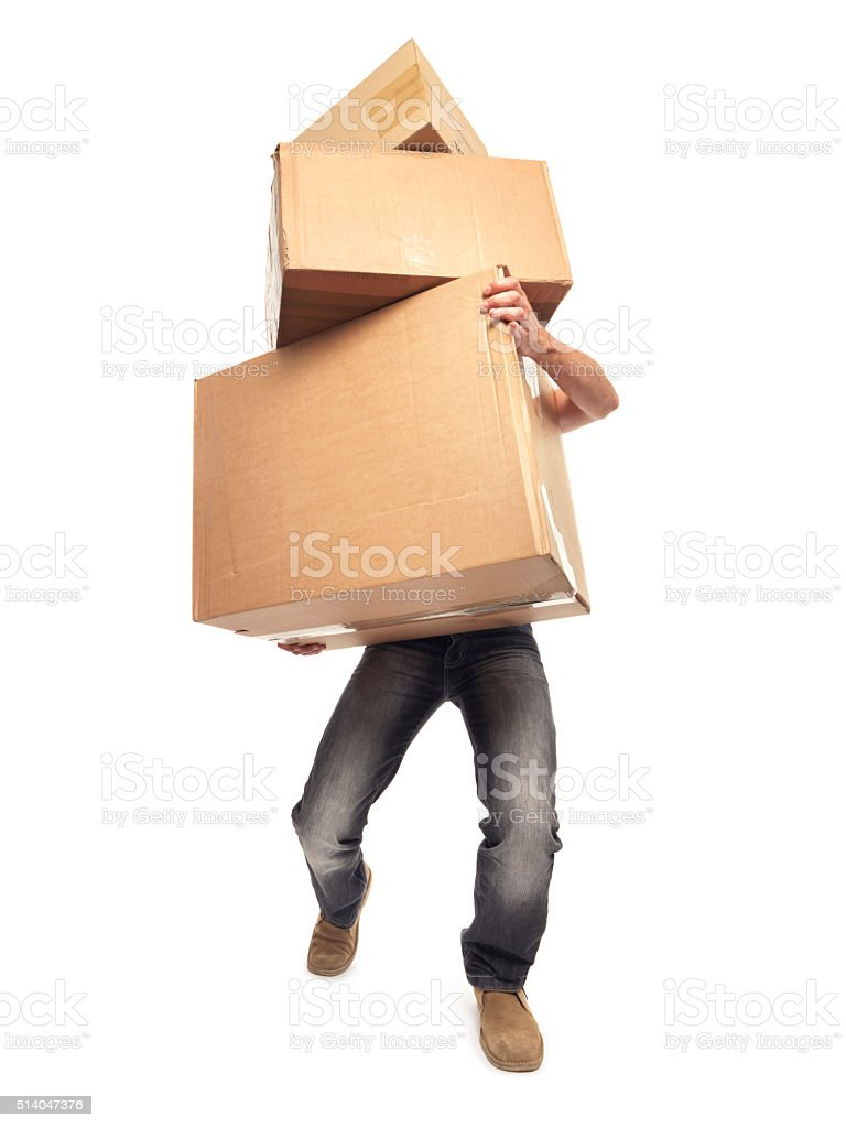 carrying and lifting boxes - Stock Image stock photo