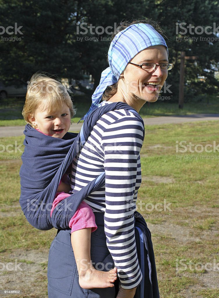 Carrying baby royalty-free stock photo