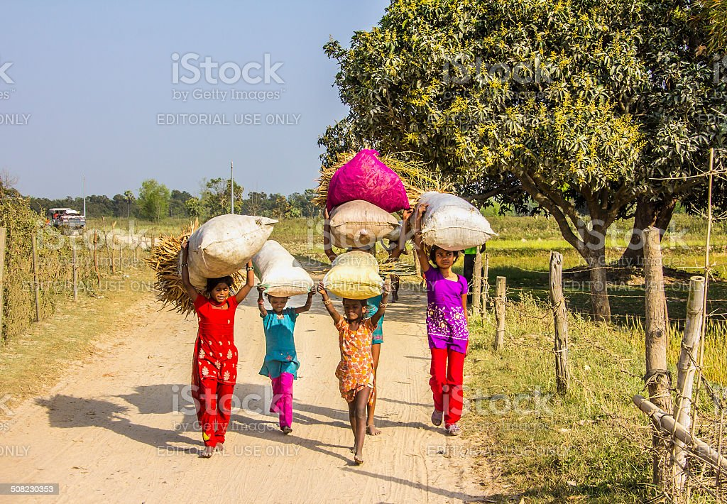 carrying bags on their heads stock photo