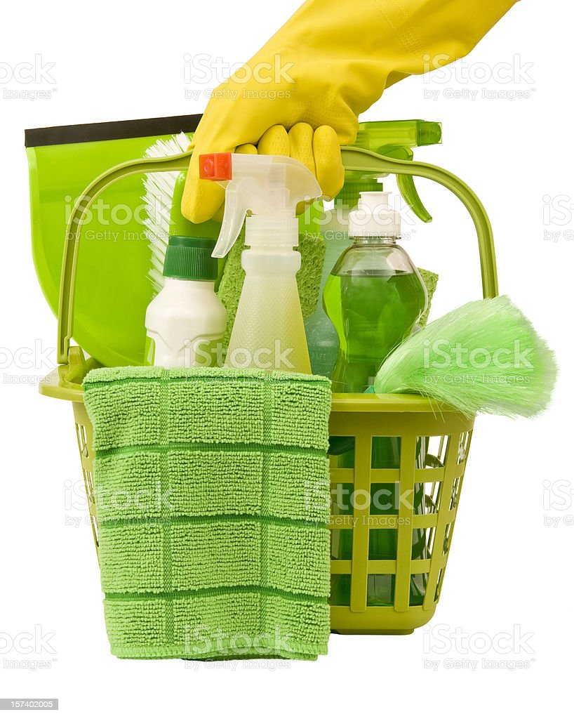 Carrying Green Cleaning Supplies royalty-free stock photo