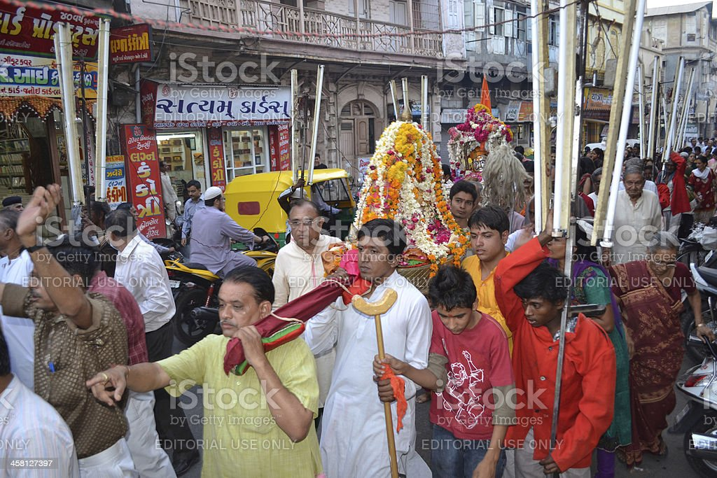 Carrying Lord Hatkeshwar in chariot into the city royalty-free stock photo