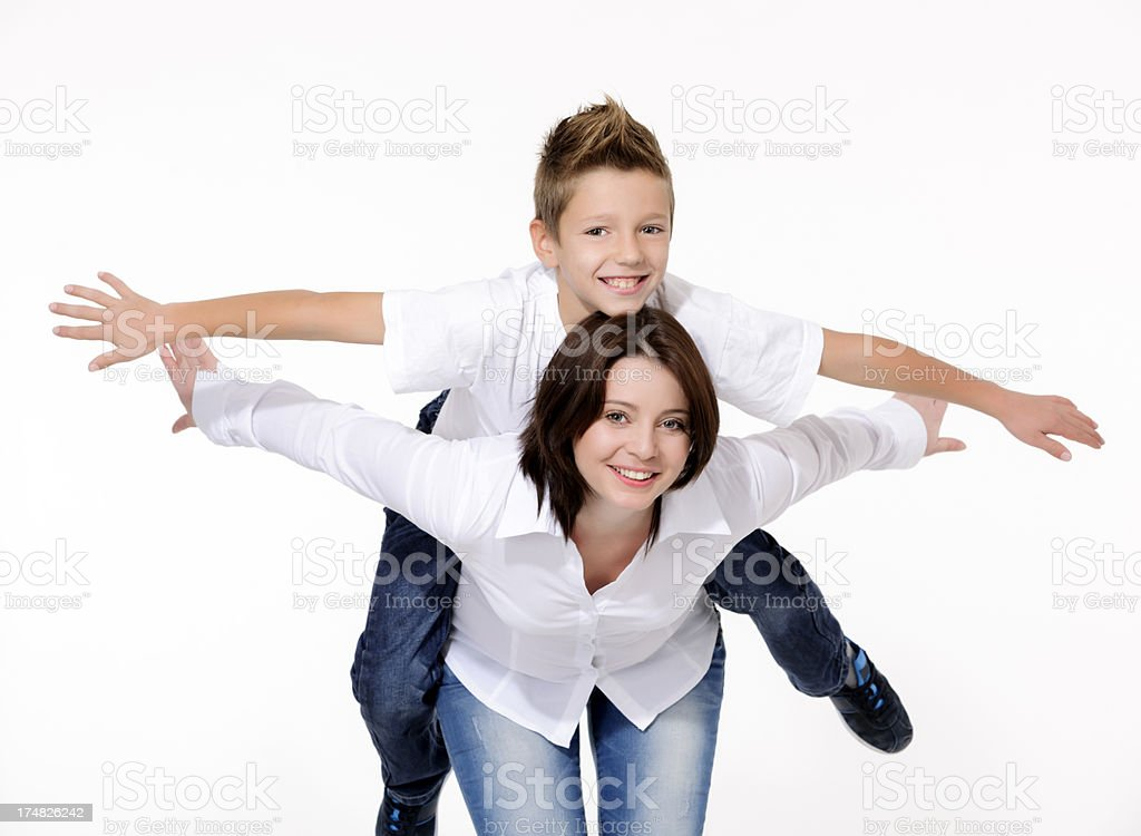 carrying on shoulders royalty-free stock photo