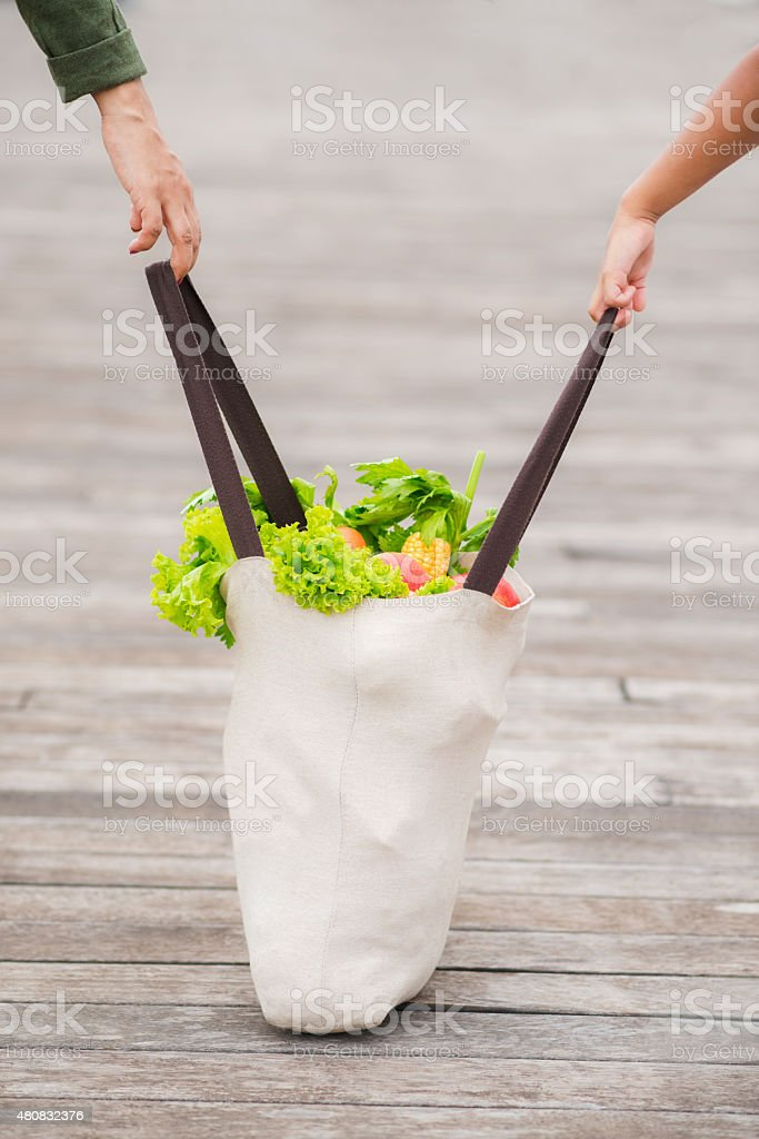 Carrying shopping bag full of groceries stock photo