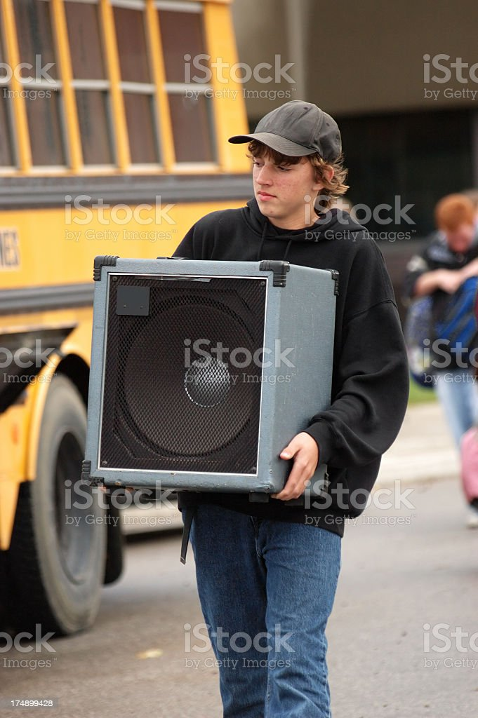 Carrying the amp stock photo