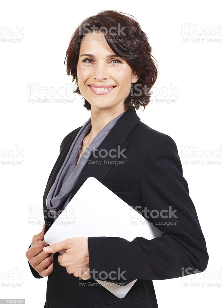 Carrying the office under her arm royalty-free stock photo