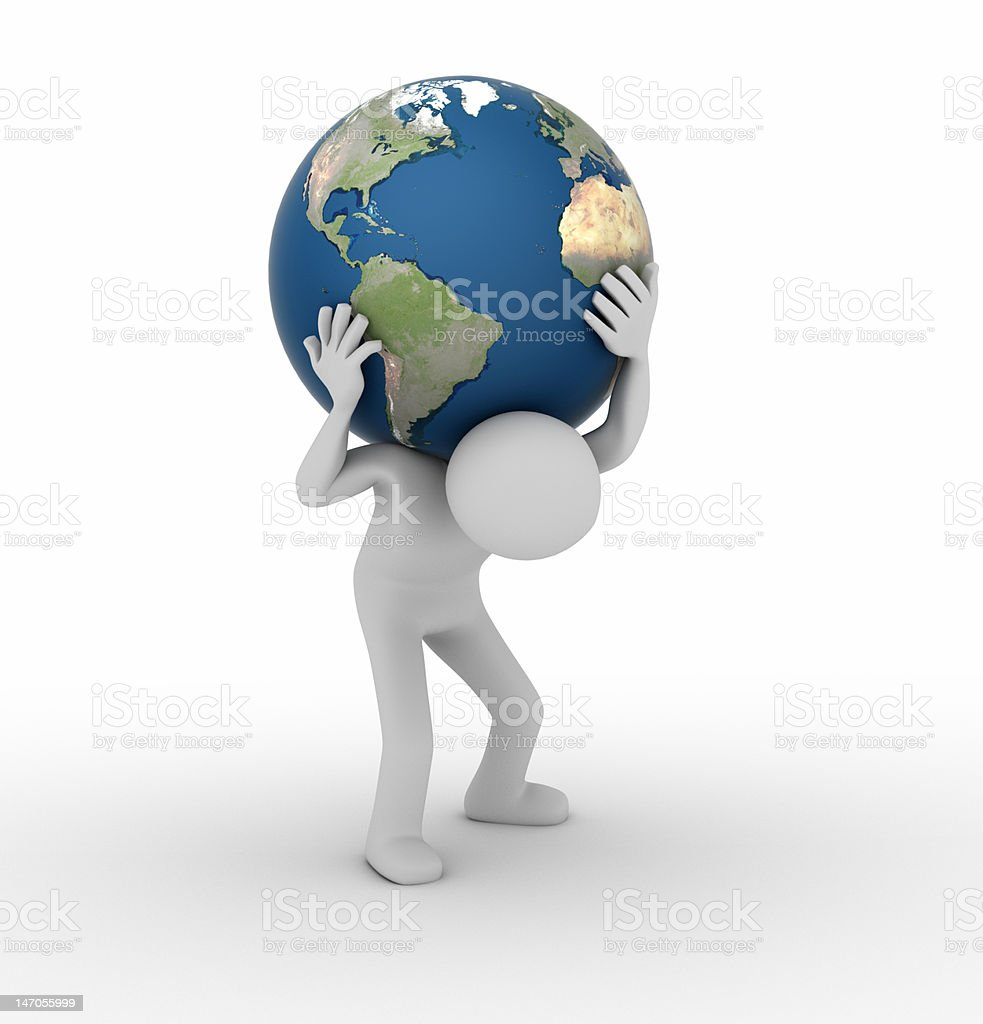 Carrying the World like Atlas stock photo
