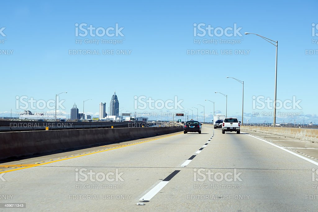 Driving into Mobile, Alabama royalty-free stock photo
