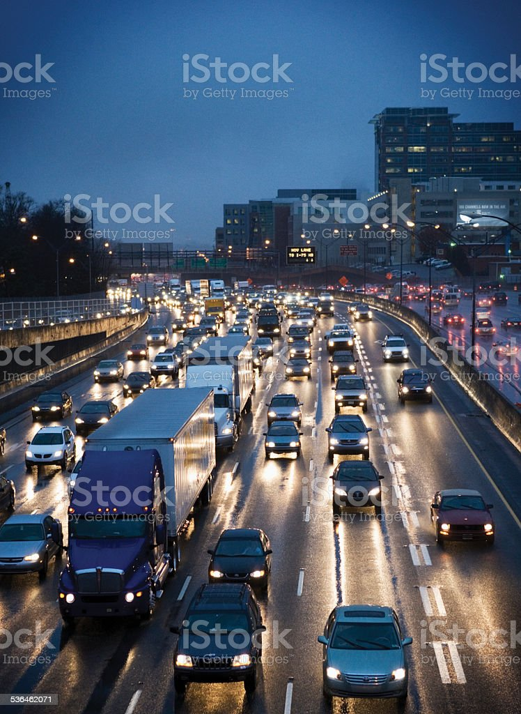 Cars and simi-trucks on expressway in downtown Atlanta, Georgia stock photo