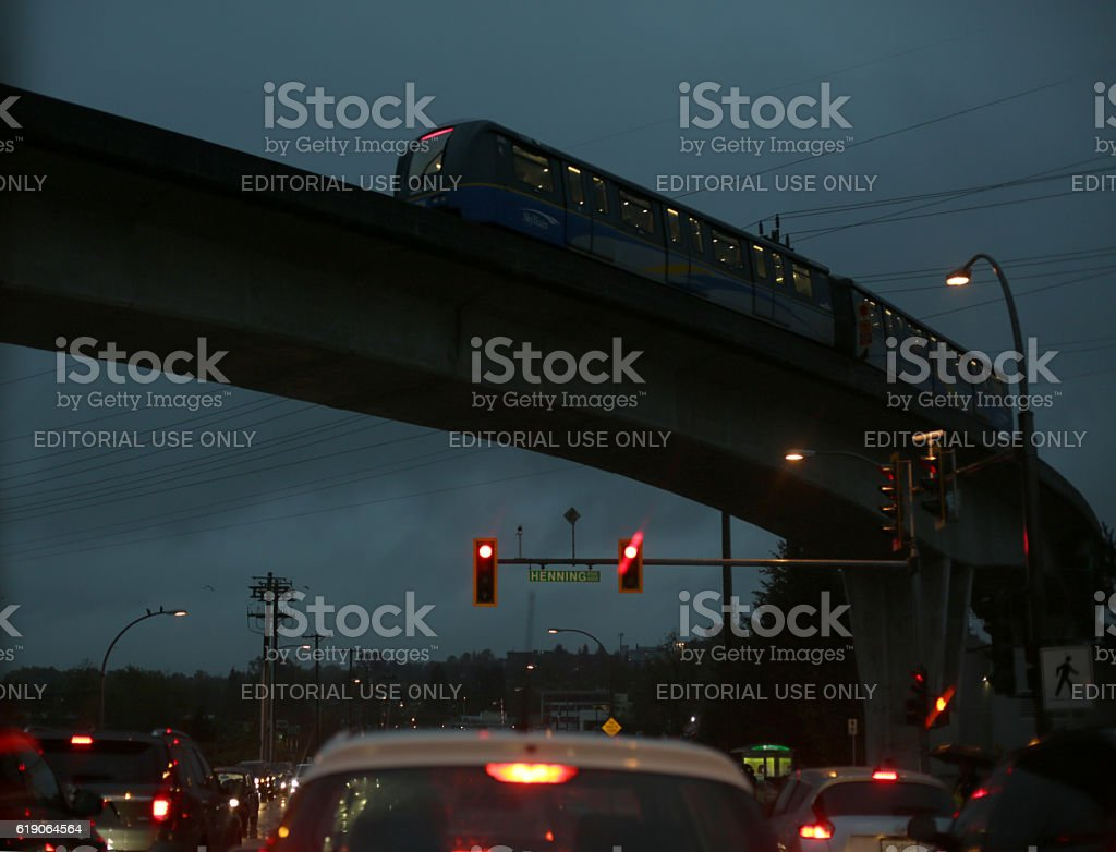Cars and SkyTrain in Rush Hour Traffic, Metro Vancouver, Canada stock photo